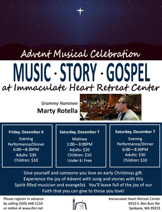 Marty Rotella - Advent Musical Celebration Performance and Dinner @ Immaculate Heart Retreat Center | Spokane | Washington | United States